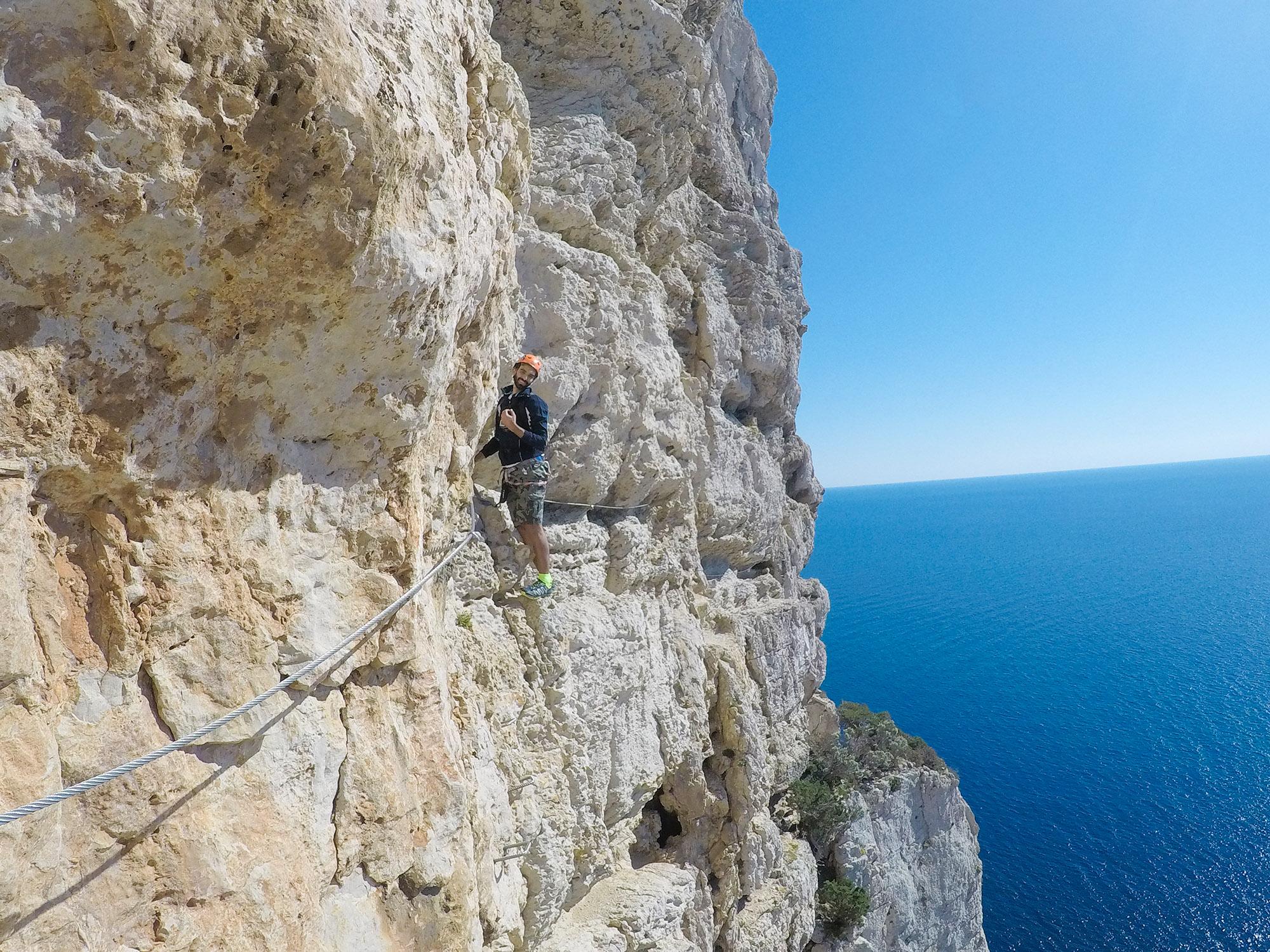 Scalata nella Ferrata di Cabirol in Sardegna
